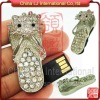 crystal cute kitty slipper shape usb flash drive gift diamond usb flash souvenir