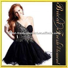Short Organza Black Evening Dress Fashion 2012