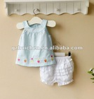 mom and bab 2012 summer baby clothing 100% cotton embroider woven girl top shorts set
