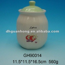 White ceramic spice jar with lid