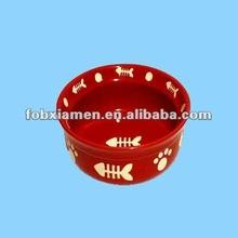 2012 new red ceramic pet food bowl for cat