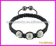 white crystal ball woven shamballa bracelet