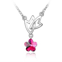 Austrian crystal jewelry necklace-Floating leaf falling plum(Purple red)