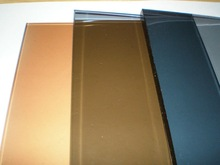 tinted glass (bronze golden bronze and grey reflective glass)
