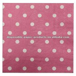 Wholesale Pink Polka Dot Luncheon Napkins/Ideal Home Range 2-Ply Paper Lunch Napkins, Large Spot RosePaper Napkins Serviettes
