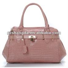 2012 Hottest! Fashion handbag for women in light pink crocodile