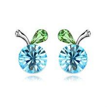 Austria Crystal Jewelry Stud Earring-Begonia fruit(sea blue)