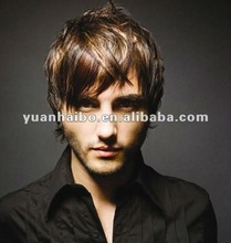 100% high quality huaman hair, Natural looking wigs for men