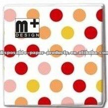 Wholesale Polka Dot Design Cake Napkins Serviette-3ply Paper Napkins Pink Red Orange Yellow Large Dots Design 5 Colors available