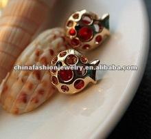 Lovable Lucky Red Zircon Fish Earrings 2012