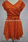 V neck fashion short sleeve print chiffon ladies dress