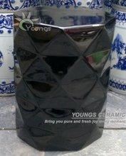Chinese Black Glazed Diamond Ceramic Porcelain Stool