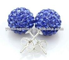 Top Quality!!Shamballa Earring!!925 Sterling Silver Shamballa earring stud design!!