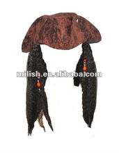 Plush Captain Pirate of the Caribbean hat with braids MH-1174