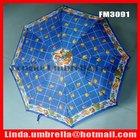 "[FM3091] 21""x8k, Fruit design 3 folding umbrella, blue color umbrella"
