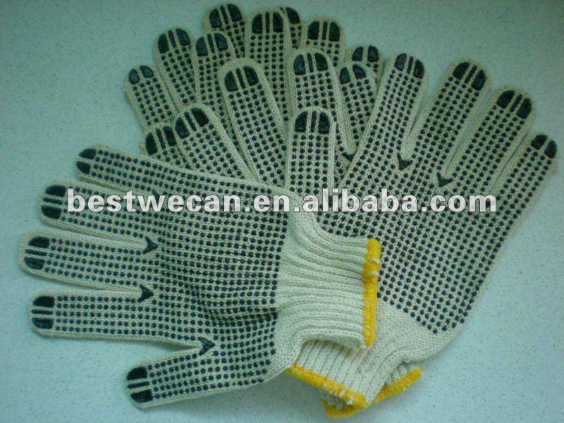 Pvc punto guantes/guante la norma en hilaza tejido