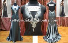crystal black corset open back evening dress