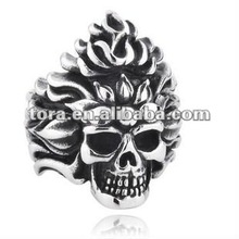2012 fashion personalized flaming skull silver finger rings