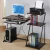 Wood black metal home office desktop computer table