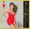 Chiffon Beaded Thin Straps Ruffle Red Short Evening Dress