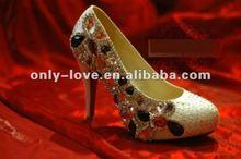 BS444 high heel rhinestone crystals bridal wedding shoes