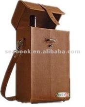 Full-grain leather wine bottle holder