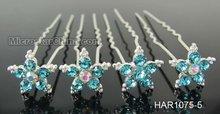 Wedding bridal crystal rhinestone girls hair pins mixed color in stock