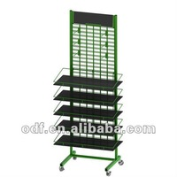 Double Sided Rolling Metal Gridwall Display Rack with Sign Holder