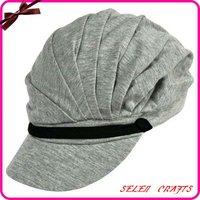 Grey Soft Jersey Cotton Pleated Newsboy Cap Hat
