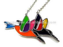 fabulous colorful enamelled lover swallow pendant necklace silver plated
