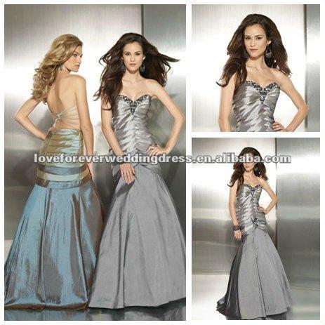 diseño vintage estilo sirena tafetán vestido de los últimos diseños