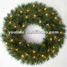 60cm diameter pvc pre-lit christmas wreath battery lights