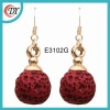 single stone earrings red color