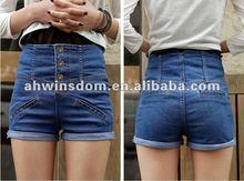 2012 fashion high waist elasticity show thin cowboy shorts