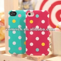 Colorful Pink white Blue Polka Dot hard Cover Case For iphone4 4s