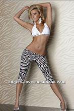Fashion new design zebra white black capri pants seamless leggings