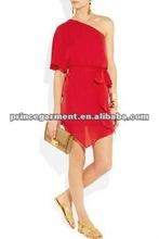 one shoulder chiffon fashion casual dress 2012