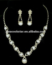 Faux Pearl Crystal Gold Plate Necklace Earrings Set CS1136