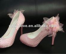 BS515 unique design pink high heel rhinestones bridal wedding shoes