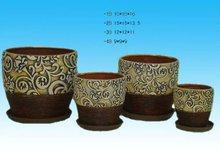 brown ceramic round garden flower pot w/pattern