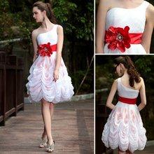DORISQUEEN One Shoulder Bubble Red Belt Latest Dresses Designs Photos 2012