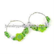 mop hook earring in summer green color, flower jewelry hoop earrings,er-567