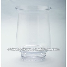 CLEAR GLASS HURRICANE CANDLEHOLDER, FLORAL VASE