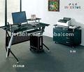 [CALIENTE] [fabricante de la tabla de la computadora] vidrio del diseño moderno y tabla de la computadora del acero, cuadro negro clásico 3352 de la computadora