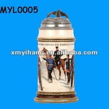 2012 new hot ceramic regimental stein with metal lid