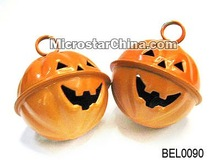 Best gift iron bell for halloween pumpkin with ghost face 39*35mm
