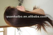 "Virgin Human Hair,22"" #4,silk straight,Silk top front glueless wig"