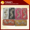 For iPhone 4S Case Luxury Sparkling Bling Crystal Diamond Leather Case For iphone4 Chrome Metal Mobile Phone Cover
