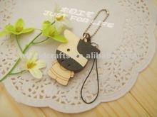 phone accessories cartoon figure handmade wooden crafts for key chain