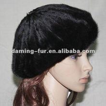 2012 Top Fashionable Genuine Mink Fur Hat/Black/Beret Winter Hat/Luxurious